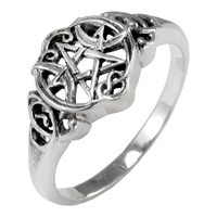 Sterling Silver Heart Pentacle Ring