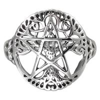 Sterling Silver Cut Tree Pentacle Ring