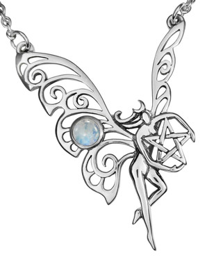 Sterling Silver Dancing Faerie Necklace with Rainbow Moonstone