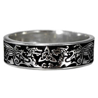 Narrow Celtic Knot Dragon Ring Triquetra Ring