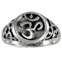 Large Sterling Silver Aum Ring