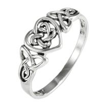 Silver Celtic Knot Triquetra Hidden Pentacle Heart Ring