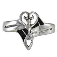 Sterling Silver Venus Goddess Love Heart Ring