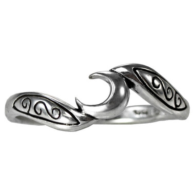 Sterling Silver Crescent Moon Goddess Ring