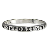 Sterling Silver Crisis Equals Opportunity Inspirational Ring