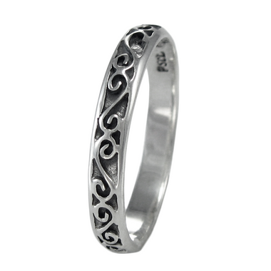 Narrow Sterling Silver Celtic Motif Band Ring