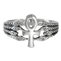 Silver Egyptian Ankh Serpent Ring