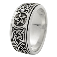 Silver Celtic Knot Pentacle Spinner Worry Ring