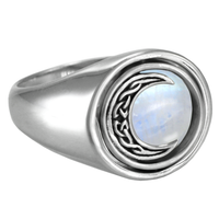 Crescent Moon Rotating Flip Ring Moonstone Celtic Knot Goddess Wiccan Pagan Jewelry