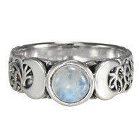 Sterling Silver Triple Crescent Moon Goddess with Rainbow Moonstone Ring