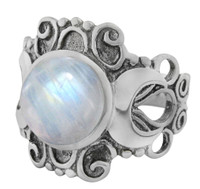 Large Victorian Triple Moon Goddess Ring with Rainbow Moonstone