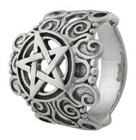 Large Sterling Silver Ornate Pentacle Ring