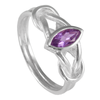 Sterling Silver Woven Celtic Knot Ring with Amethyst