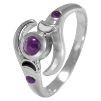 Sterling Silver Lunar Phases Triple Goddess Ring with Amethyst