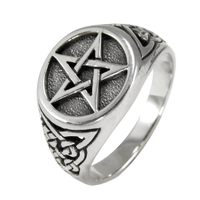 Sterling Silver Triquetra Celtic Knot Pentacle Ring Band