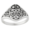 Sterling Silver Tree of Life Ring with Sun and Moon