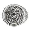 Large Sterling Silver Tetragrammaton Pentagram Ring