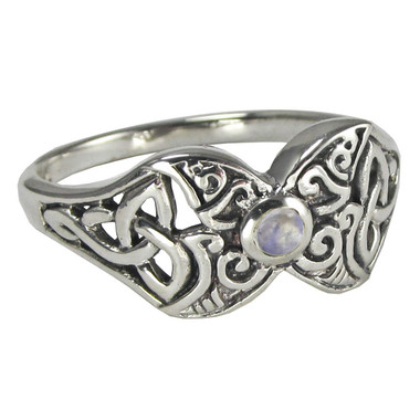 Sterling Silver Crescent Moon Triquerta Butterfly Ring with Rainbow Moonstone