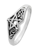 Sterling Silver Celtic Knot Pentagram Star Ring