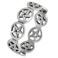 Sterling Silver Pentagram Band Ring