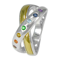 Sterling Silver Seven Chakra Ring with Gold Vermeil