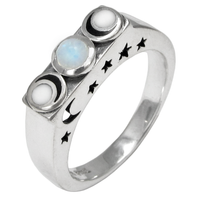 Sterling Silver Lunar Phase Ring with Rainbow Moonstones