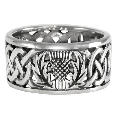 Sterling Silver Wide Scottish Thistle Wedding Band with Celtic Knot Ring