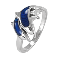Sterling Silver Dolphin Ring with Lustrous Blue Enamel