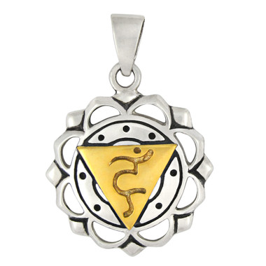 Vishuddha The Throat Chakra Pendant Sterling Silver Gold Plated