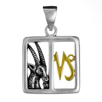 Capricorn Goat Sterling Silver Gold Plated Zodiac Sign Pendant