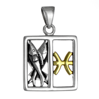 Pisces Fishes Zodiac Sign Pendant Sterling Silver Gold Plating