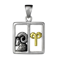 Aries Ram Zodiac Sign Pendant Sterling Silver Gold Plated