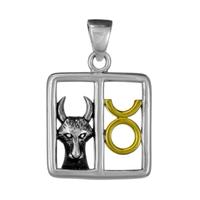 Taurus Bull Zodiac Sign Pendant Sterling Silver Gold Plating