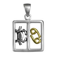 Cancer Crab Zodiac Sign Pendant Sterling Silver Gold Plated