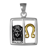 Leo Lion Zodiac Sign Pendant Sterling Silver Gold Plating