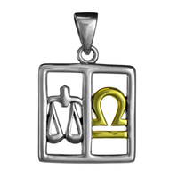 Libra The Scales Zodiac Sign Pendant Sterling Silver Gold Plated