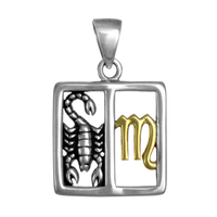 Scorpio Scorpion Zodiac Sign Pendant Sterling Silver Gold Plated