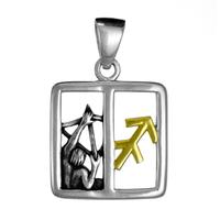 Sagittarius Archer Zodiac Pendant Sterling Silver Gold Plating