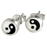 Sterling Silver Yin Yang Earrings Studs Black and White Enamel Jewelry