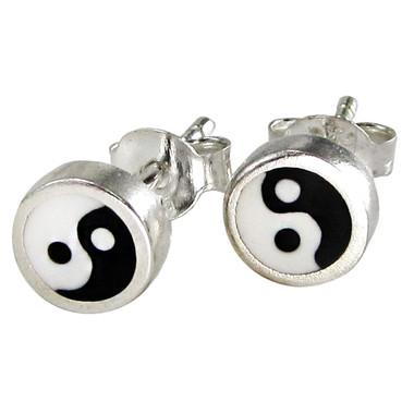 Sterling Silver Yin Yang Earrings Studs Black and White Enamel Jewelry