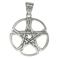 Pewter Septagram Overlapping Pentacle Pentagram Pendant Jewelry for Men or Women