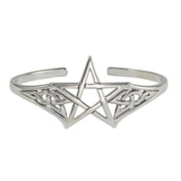 Sterling Silver Adjustable Cuff Pentacle Bracelet