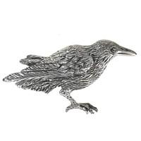 Sterling Silver Raven Crow Brooch Pin Corvid Bird Totem Jewelry
