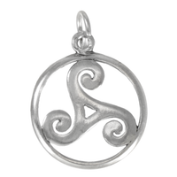 Celtic Open Trinity Knot Spiral Triskelion Sterling Silver Charm