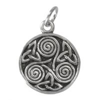 Sterling Silver Celtic Trinity Knot Spiral Triskelion Charm