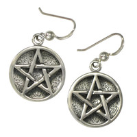 Sterling Silve Pentacle Pentagram Earrings Wiccan Pagan Jewelry