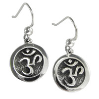 Sterling Silver Solid Aum Om Ohm Earrings Hindu Buddhist Jewelry