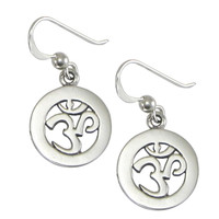 Sterling Silver Cut Om Aum Dangle Earrings Hindu Buddhist Jewelry