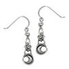 Sterling Silver Celtic Knot Crescent Moon Dangle Earrings
