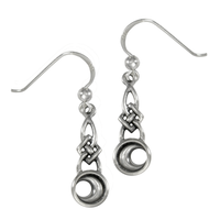 Sterling Silver Celtic Knot Crescent Moon Dangle Earrings